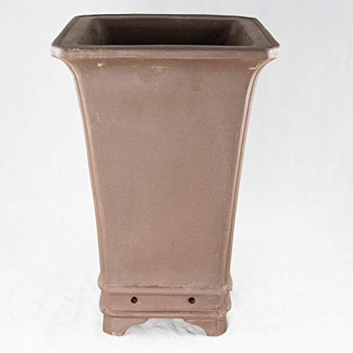 Square Brown Zisha Cascade Bonsai Pot & Orchid Planter - 7.25