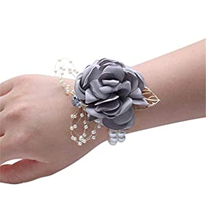 Flonding Girl Bridesmaid Wrist Corsage Bridal Silk Wrist Flower with Faux Pearl Bead Stretch Bracelet Wristband Gold Leaf for Wedding Prom Hand Flowers Decor (Light Gray, Pack of 4)