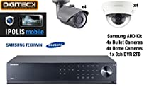 Samsung 8 Camera Kit - 4 Dome & 4 Bullet CCTV Cameras & 8 Channel DVR 2TB AHD 1080p Plug&Play Suitable Indoor & Outdoor Vandal Resistant & Weatherproof