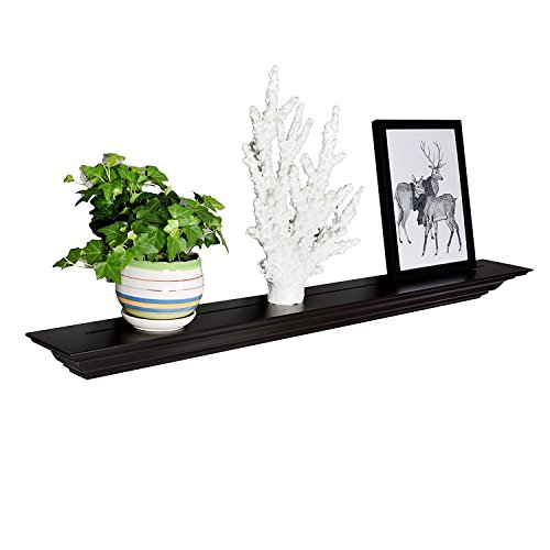 WELLAND Corona Crown Molding Floating Wall Photo Ledge Shelves Fireplace Mantel Shelf (48-Inch, Espresso) (Crown Place)