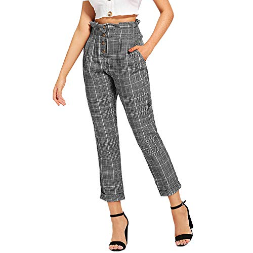 Plaid Pleated Trousers - JOFOW Womens Pencil Pants,Plaid Pleated Button Comfy Loose Slim Elastic High Waist Tunic Wide Leg Cropped Trousers for Women (XL(US:16-18),Gray)