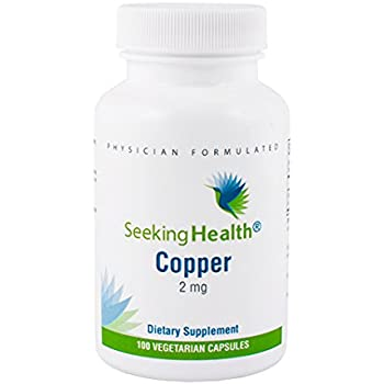 Copper | Provides 2 mg of Copper per serving | 100 Vegetarian Capsules | Non-GMO | Free of Magnesium Stearate | Physician Formulated | Seeking Health