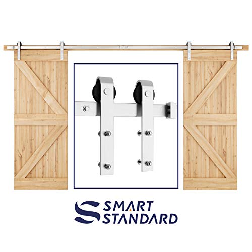 SMARTSTANDARD 12ft Heavy Duty Double Door Sliding Barn Door Hardware Kit - Smoothly and Quietly -Easy to install -Includes Step-By-Step Installation Instruction Fit 36 Wide Door Panel(J Shape Hanger)