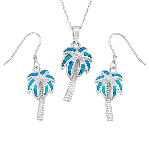 Silver Inspired Tree Sterling Palm (Sterling Silver Created Blue Opal Palm Tree Earrings and Pendant Set with 18