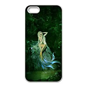 Diy Beautiful Little Mermaid Pattern Customized for iphone 5s White Back Cover Phone Case