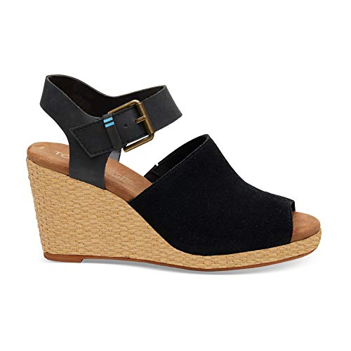TOMS Women's Tropez Black Suede/Leather 11 B US