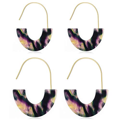 Suyi 2Pcs Acrylic Hoop Earrings Set Resin Earrings Bohemia Dangle Drop Earrings for Women Girl (Purple Resin Earrings)