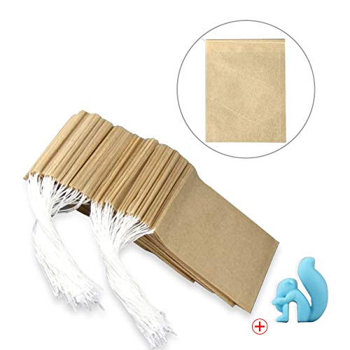 300Pcs Drawstring Tea Filter Bags with 1 Cup Clip, Safe & Natural Material, Disposable Empty Tea Infuser Bag for coffee and Loose Leaf Tea, 1-cup capacity (2.75¡Á3.5in, primary color) ¡