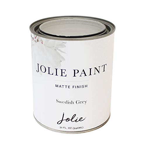 Jolie Paint - Matte Finish Paint for Furniture, cabinets, Floors, Walls, Home Decor and Accessories - Water-Based, Non-Toxic - Swedish Grey - 32 oz (Quart)