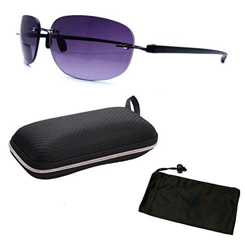 c62bc692e948 Men   Women Unisex Rimless Frameless Wire Bifocal Sun Reader Sunglasses  Reading Glasses Free Hard Case