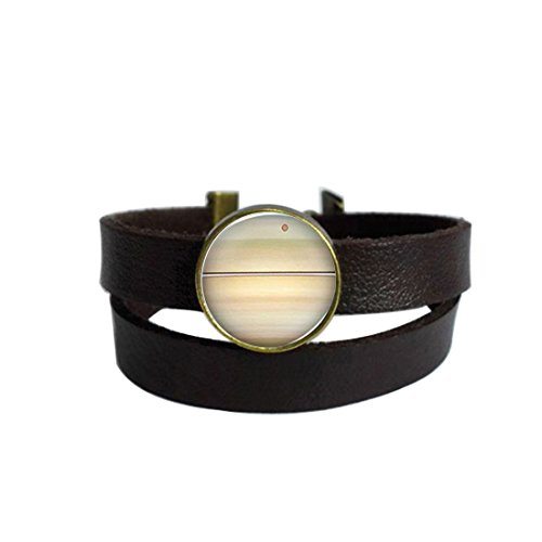 JEANCZ Multilayer Leather Band Bracelet Galaxy Saturn Custom Glass Cabochon Charm for woman