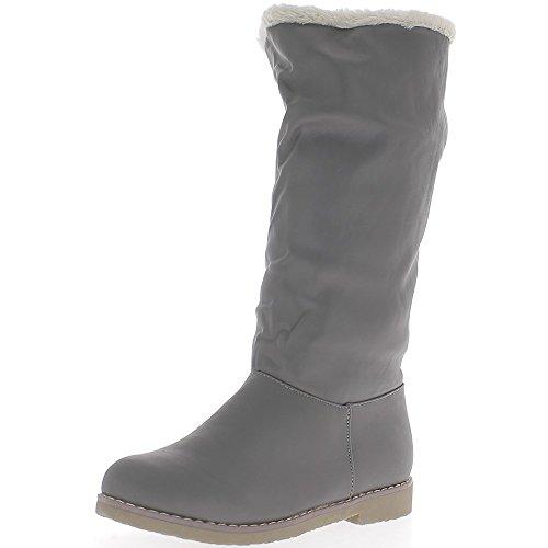 Bottes femmes grises à talon de 2,5cm fourrées