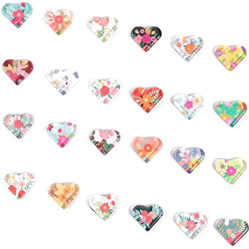 Floral Heart Shaped Glass Fridge Magnets (24 Pack)