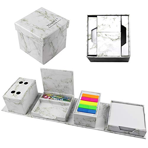 TOAOFY Sticky Notes Kit Page Markers Organizer Multi-Function 4 in 1 Collapsible Paper Clip Storage Box Pen Holder for Desk Marble Look Compact Holder ONLY004