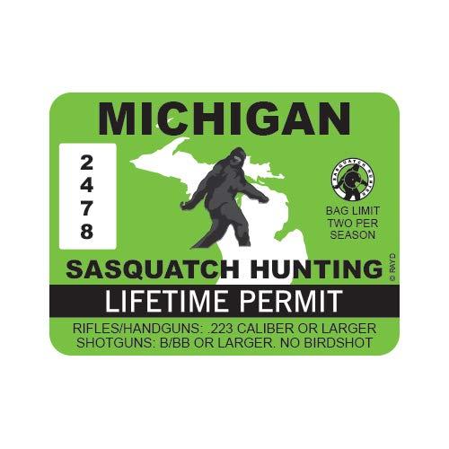 "RDW Michigan Sasquatch Hunting Permit - Color Sticker - Decal - Die Cut - Size: 4.00"" x 3.00"""