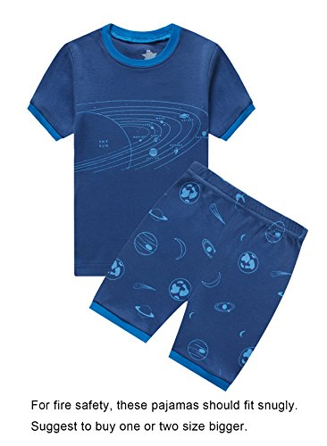 Choco Moon Big Boys Space Snug-Fit Pajamas Short Sets 100% Cotton Blue Pjs Clothes Summer Kid 8 by Choco Moon