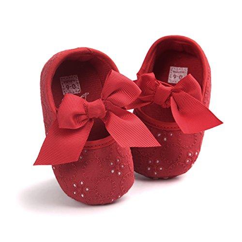 Fille Auxma Rouge Baskets Prewalker Nouveau Blanc Souple Semelle Fleur Doux Mois 6 Fond Bowknot Née Bébé Chaussures 12 nTAr7wxnC