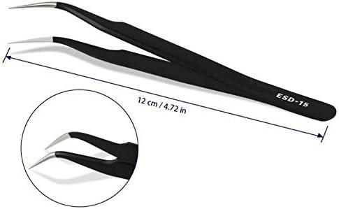 6PCS Pince /à /épiler noir brucelles anti-statique pincettes ESD de pr/écision entretien outils kit pour r/éparation electronique