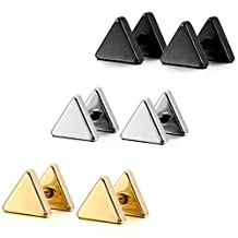 MOWOM Silver Gold Two Tone Black Stainless Steel Stud Earrings Tapers Plugs Tunnel Double Side