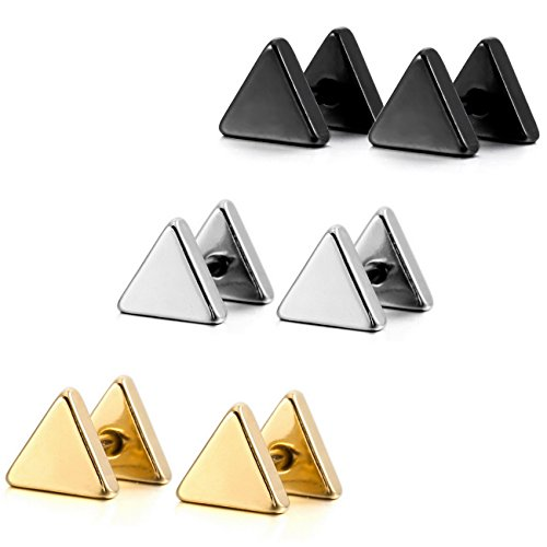 (MOWOM Silver Gold Two Tone Black Stainless Steel Stud Earrings Tapers Plugs Tunnel Piercing Triangle Set (3 Pairs) )
