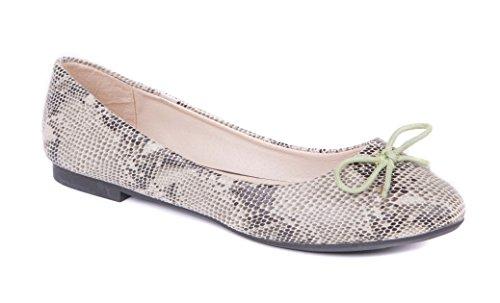 Womens Ballerina Pumps & Ballet Shoes Slip On Faux Snake