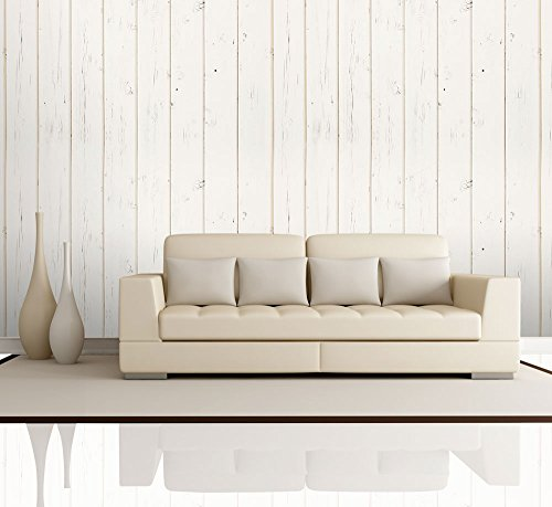 Cream Retro Vertical Wood Textured Paneling Pattern Wall Mural Removable Wallpaper