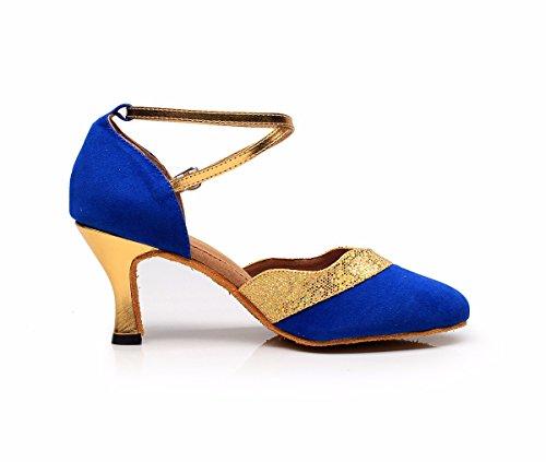 DQuietness Frauen Tanzschuhe Latin Sparkling Glitter / Paillette / Synthetische Kubanische Ferse Schwarz / Silber / Gold / Mehrfarbig Blue