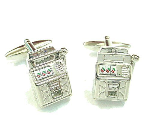 (Mens Executive Cufflinks Lets Win Some Money Las Vegas Gamblers Slot Machine Cuff Links)