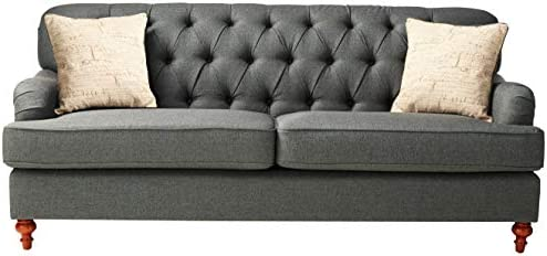 ACME Furniture 53690 Alianza Sofa with 2 Pillows, Dark Gray Fabric
