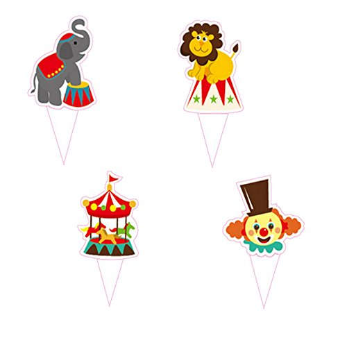 Circus Carnival Theme Favor Tags Cupcake Bun Cake Topper Party Decoration, Pack of 95]()