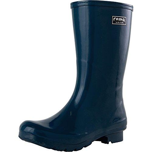 Roma Boots Women's Emma Short Rain Boot, Navy, 9 M US by Roma Boots