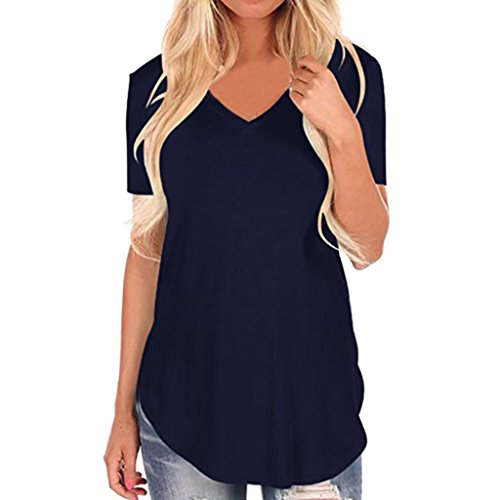TOTOD 日语 Women's Short Sleeve V-Neck Irregular Hem Loose Casual Broadcloth Tee T-Shirt Tops (XL, Navy)
