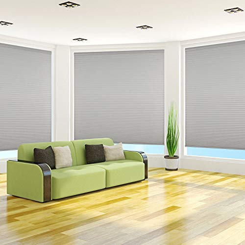 """Arlo Blinds 9/16"""" Single Cell Light Filtering Cordless Cellular Shades, Color: Grey, Size: 18"""" W x 48"""" H"""