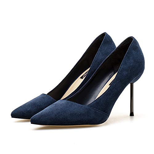 Small Autumn Yukun heels Wild Women'S Stiletto Blue Girl Princess Blue Pointed High Nude Fresh 39 High Navy Dark Heel Suede rErAf7nqR