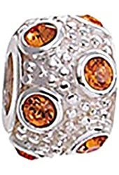 Zable Sterling Silver Orange Crystals Bead
