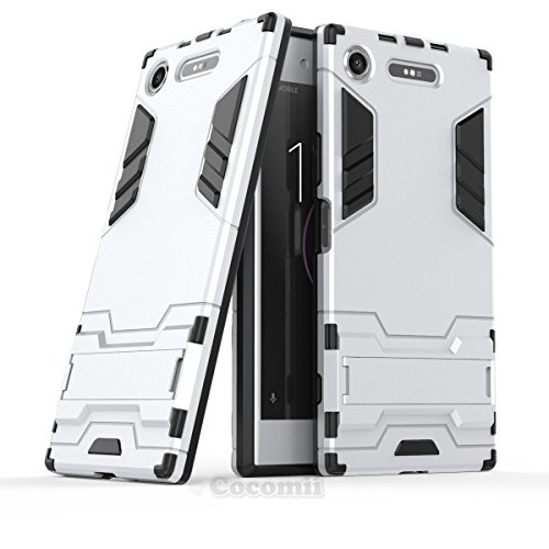 Cocomii Iron Man Armor Sony Xperia XZ1 Case NEW [Heavy Duty] Premium Tactical Grip Kickstand Shockproof Hard Bumper [Military Defender] Full Body Dual Layer Rugged Cover for Sony Xperia XZ1 (I.Silver)