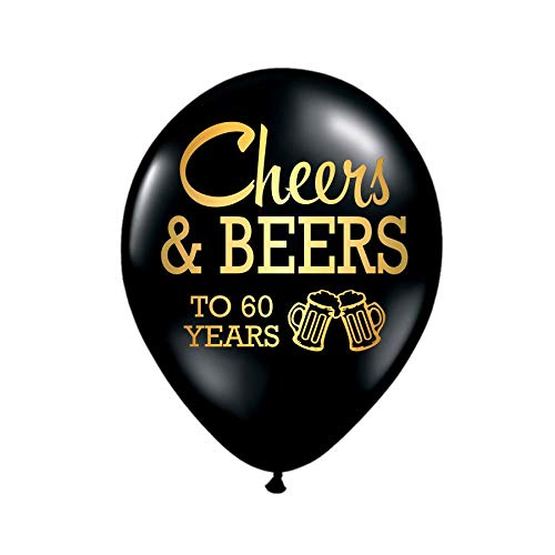 Cheers and Beers to 60 Years, 60th Birthday Party Balloons, Set of 3, 60th Birthday Party Decorations, 60th Birthday Ideas, Balloons, Metallic Gold and Black, 60th Birthday Decorations ()
