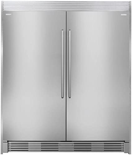 3 Piece Kitchen Appliances Package with 64 Side by Side Refrigerator and Freezer Set with EI32AR80QS 32 Refrigerator EI32AF80QS 32 Freezer and ECP7272SS 72 Trim Kit in Stainless Steel