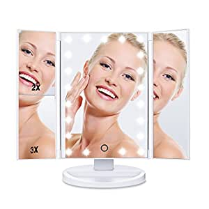 HAMSWAN SM217-DL Makeup Mirror Touch Screen LED Foldable 180 Degree Rotation 1X 2X 3X Magnifying Mirror for Home Beauty Improvement