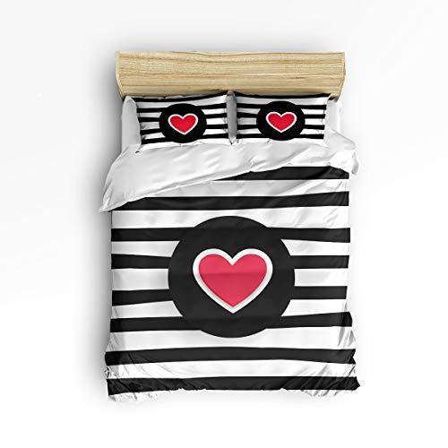 - YEHO Art Gallery King Soft Duvet Cover Set 3 Piece Kids Bedding Sets for Boys Girls,Include 1 Comforter Cover with 2 Pillow Cases,Heart-Shaped Stripe Pattern Black and White Adult Duvet Cover Set