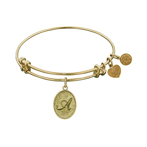Angelica Collection Non-antique Yellow Brass Initial A Bangle Bracelet -  Royal Chain, 1
