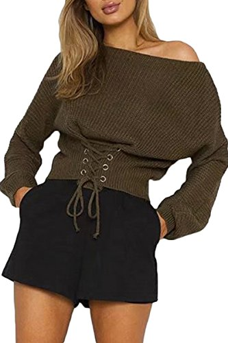 Sunfury Women Oversized Sweater Knitted One Shoulder Ribbed Knit Tops Army Green One Size