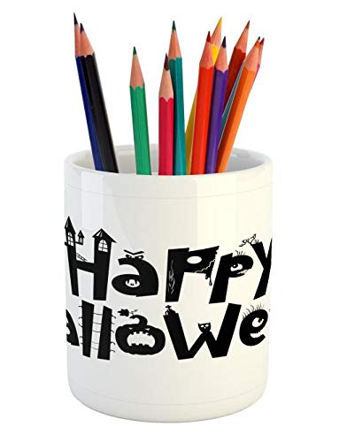 Lunarable Halloween Pencil Pen Holder, Happy Halloween Quoted Letters as Spooky Shapes Simplistic Illustration, Printed Ceramic Pencil Pen Holder for Desk Office Accessory, Charcoal Grey White