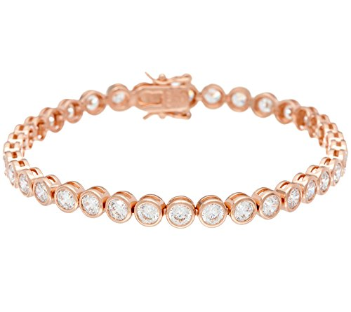 Smjewels 7.60 Carat Round Bezel Set D/VVS1 Diamond 14K Rose Gold Plated Tennis Bracelet by Smjewels (Image #1)