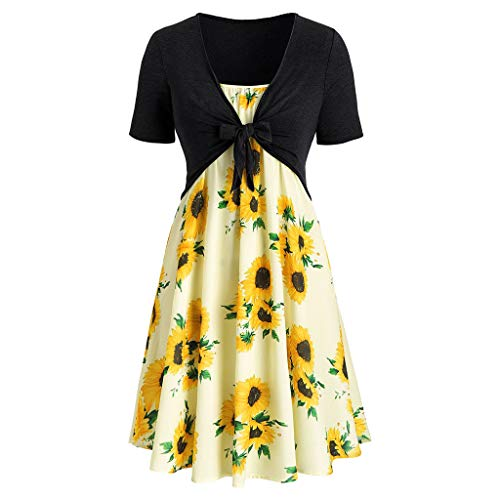 Sunhusing Women's Solid Color Short Sleeve Bow Tie Lace Up Sunflower Print Off-Shoulder Dress Set Black