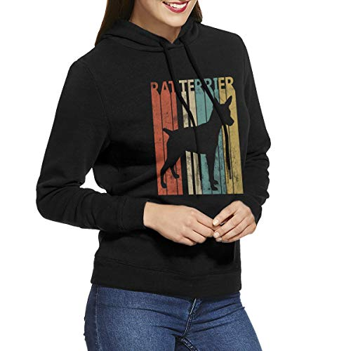 - Women's Long Sleeve Pullover Sweatshirt Vintage 1970s Rat Terrier Dog Hoodies Without Pockets Black