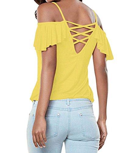 DINGANG - Camiseta - Manga corta - para mujer amarillo