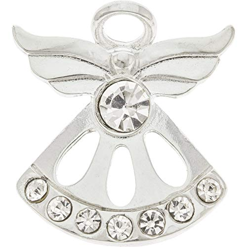 Sterling Gifts April Diamond Birthstone Angel Pin Fancy Angel, Silver with 8 Crystals