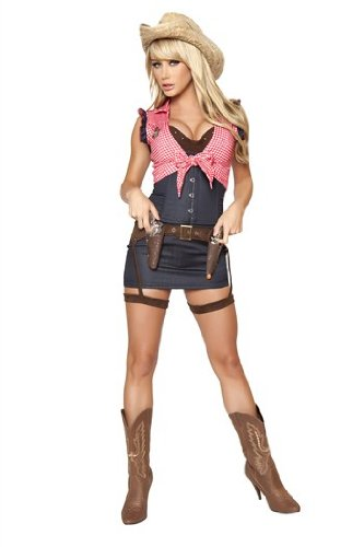 Roma Costume 7 Piece Cowgirl Cutie Costume, Blue/Red, Large (Sexy Cowgirl Lingerie)
