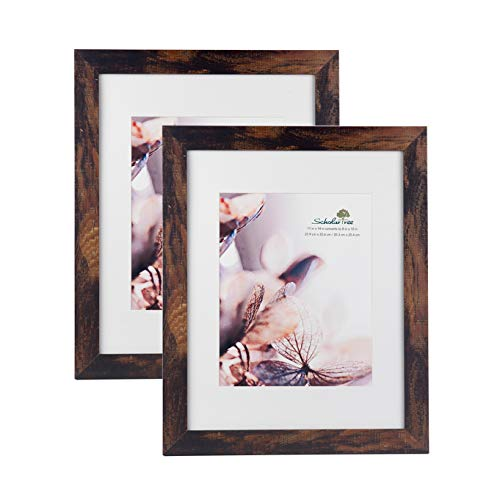 Scholartree Wooden Brown Picture Frame 11x14 Dislapy 8x10 Picture with Mat or 11x14 inches Pictures Without Mat (Browns Picture Frame)